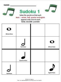 Music-themed Sudoku puzzles using rhythms, dynamics, etc.
