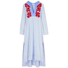 Tory Burch Jade Tunic Dress (€485) ❤ liked on Polyvore featuring dresses, long blue dress, blue print dress, long kaftan, blue oxfords and blue dress