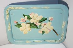 Metal Folding Breakfast Tray Floral TV Table by SeacoastVintage
