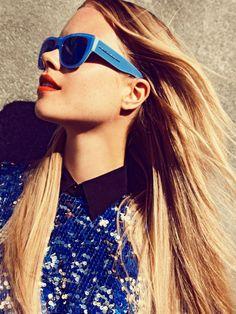 Stylish cobalt blue sunglasses