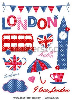 stock vector : London scrapbook elements in blue, red and pink.