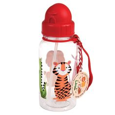 Rex London BPA Free Plastic Kids Water Bottle - Choice Of Design (Colourful Creatures) Reusable Water Bottles, Plastic Bottle, Chat Kawaii, Palm Leaf Plates, Motifs Animal, Vacuum Flask, Kids Boutique, Stainless Steel Bottle, Artists