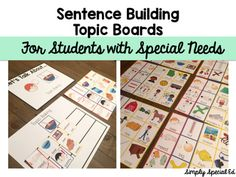 Sentence Building Topic Boards for students with Special Needs After introducing students to a topic using a book, video, story, or… Sentence Fragments, Topics To Talk About, Sentence Building, Topic Sentences, Sentence Structure, Teaching Activities, Special Needs, Social Work, Special Education