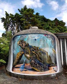 Graffiti isn't always just about paintings on walls. Sergio Odeith, a street art 3d Street Art, Murals Street Art, Urban Street Art, Best Street Art, Street Art Graffiti, Street Artists, Urban Art, Graffiti Artists, Illusion Kunst