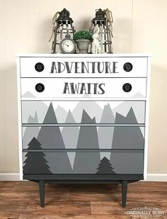 Mountain Adventure theme kids or nursery dresser. Painted in Chalk Paint® by An… Mountain Adventure theme kids or nursery dresser. Painted in Chalk Paint® by Annie Sloan in shades of Graphite and Pure White. By Orginally Worn