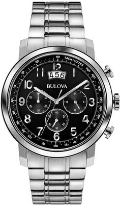 Quartz movementStainless steel case and braceletBlack dialMineral box, double curve crystalWater resistant to 99 feet M): withstands rain and splashes of water, but not showering or submersion. Used Watches, Cool Watches, Wrist Watches, Bulova Watches, Metal Bracelets, Bracelet Sizes, Stainless Steel Watch, Luxury Watches, Chronograph