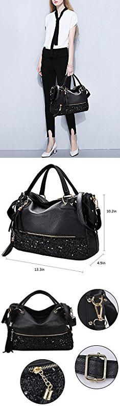 Coofit Handbag Fashion Hobo Style Sequin PU Leather Shoulder Bag for Women (B. Women's Handbags, Fashion Handbags, Clutches For Women, Hobo Style, Navy Stripes, Cross Body Handbags, My Bags, Leather Shoulder Bag, Fossil