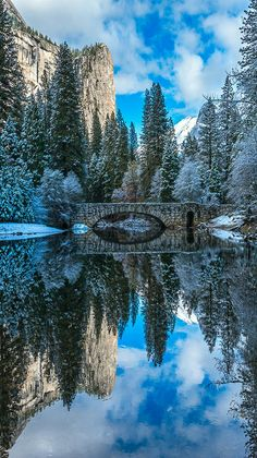 Winter - Blue reflection of Yosemite National Park.