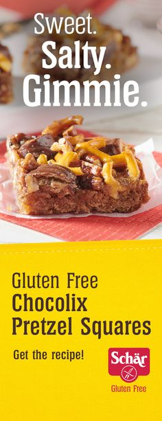 These Chocolate Caramel Pretzel Squares deliver a satisfying sweet 'n salty chocolate crunch, perfect for after school snacking! Gluten Free Cheesecake, Gluten Free Desserts, No Bake Desserts, Dessert Recipes, Baking Desserts, Pie Dessert, Gf Recipes, Lemon Recipes, Gluten Free Recipes