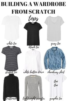 Here's how to build a wardrobe from scratch starting with your tops. Your capsule minimalist wardrobe is just one step away! wardrobe How to Build a Wardrobe from Scratch - MY CHIC OBSESSION Capsule Wardrobe Mom, Build A Wardrobe, Capsule Outfits, Fashion Capsule, Wardrobe Basics, New Wardrobe, Fashion Outfits, Black Wardrobe, Professional Wardrobe