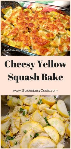 Cheesy Yellow Squash Recipe, baked squash, baked yellow squash - delicious combination of plain squashes, basil and cheese! Easy Yellow Squash Recipes, Baked Squash Recipes, Baked Yellow Squash, Cooking Yellow Squash, Vegetable Recipes, Vegetarian Recipes, Cooking Recipes, Healthy Recipes, Zuchinni Recipes