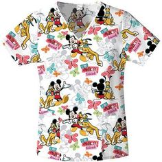 Disney's Mickey Mouse Mickey's Best Friend Women's Printed V-Neck Top, White