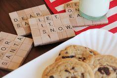 DIY Scrabble Coasters via honesttonod.com