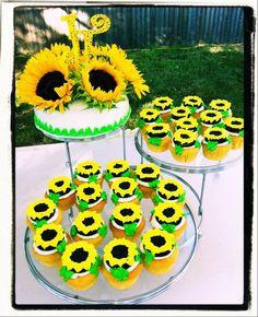 Sweetpea's Sugar Rush: Custom Toppers- Cute Sunflower cake and cupcakes