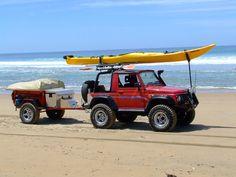 Samurai Trailer Supported Adventuring beach camping and kayaking setup