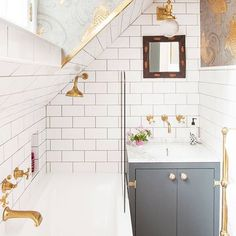 Moving on with the #pinkhouseforsale tour, and we're here at the upstairs bathroom. Since launching The Pink House nearly a year ago, this photo of my renovated bathroom, by the fabulous @slowe_photo, has been perhaps the most popular image I've posted on this here internetwork. It's become something of a Pinterest sensation, started fights on @apartmenttherapy (WTF IS THE POINT OF A SIT DOWN SHOWER FFS) and has been regrammed countless times, both by lovely, polite people who have credited…