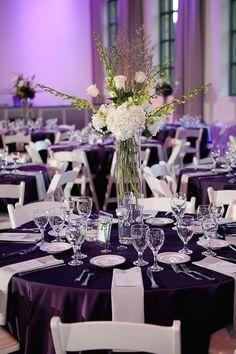Purple And Silver Wedding, Plum Wedding, Wedding Flowers, Dream Wedding, Purple Wedding Tables, Wedding Card, Chic Wedding, Wedding Bouquet, Spring Wedding