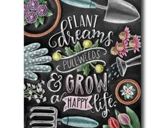 Amazing Chalkboard Art -It's surprising how gardening can influence your art journal projects too! Observe your garden, grab your art sketchbook & create some awesome chalk lettering for your chalkboard art projects. Summer Chalkboard Art, Blackboard Art, Chalkboard Print, Chalkboard Lettering, Chalkboard Designs, Chalkboard Ideas, Kitchen Blackboard, Blackboard Drawing, Chalkboard Writing