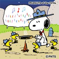 Snoopy in Woodstock and friends singing around the campfire
