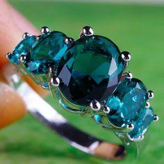 Blue Sapphire, Oval Cut, .925 Silver Ring Size 8, USA, Gift Box, Bling,Valentine #silvestri #FiveStone