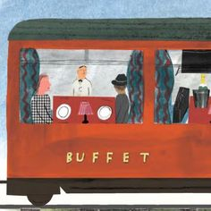 "Joe Pearson on Instagram: ""Buffet Car Emma Lewis As I move on, I'm as excited as ever at the new books ahead. This is a little detail from a new train book, heading…"" Children's Books, New Books, Emma Lewis, Book Illustration, Buffet, British, Train, Detail, Car"