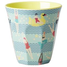 Medium Melamine Cup Two Tone with Swimster Print - Yellow and Blue