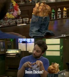 Love me some Charlie Kelly! Charlie Kelly, Charlie Day, It's Always Sunny, Always Be, Denim Chicken, Danny Devito, Sunny In Philadelphia, Fandoms, Best Shows Ever