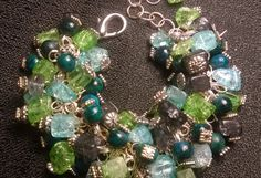 """Bunchy Bracelet, adjustable length 7 1/4"""" to 8 3/4"""" large lobster claw clasp, green and blue tones, died quartz and semi-precious stone by badassdesignes on Etsy"""