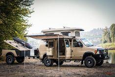 Sportsmobile with matching trailer 4x4 Camper Van, 4x4 Van, Off Road Camping, Jeep Camping, Ambulance, Minivan Camper Conversion, Van Dwelling, Overland Truck, Trailers