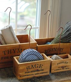 Vintage Style Nesting Herb Crates-also have tons of other cute home decor items Warm Home Decor, Cute Home Decor, Home Decor Items, Rustic Wood, Rustic Decor, Rustic Charm, Studio Kitchen, Kitchen Decor, Kitchen Ideas