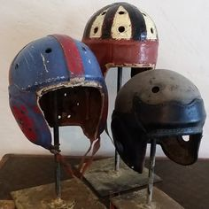 Vintage Football Helmets via Circa Antiques The Sporting Life, Vintage Football, Bicycle Helmet, Football Helmets, Antiques, Sports, Antiquities, Hs Sports, Antique