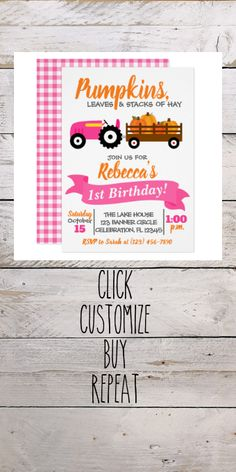Shop Pumpkin Truck Birthday Invitation - Pink Tractor created by ZoeyBlueDesigns. Personalize it with photos & text or purchase as is! Pink Invitations, Custom Invitations, Birthday Invitations, Pink Tractor, Pink Truck, Tractor Birthday, Pink Pumpkins, Fall Birthday