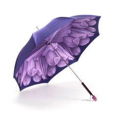 Ladies Flower Umbrella in Violet with Violet Flower - Luxury Leather Wallets, Leather Handbags, Cufflinks - British Luxury Leather Goods from Aspinal of London