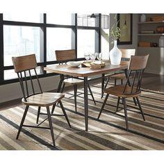 Light Brown Metal Dining Room Set