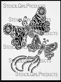 Click here to purchase the Butterfly Duo Stencil by Maria McGuire for StencilGirl Products. $14.00