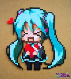 Cute Vocaloid in Hama Beads by SerenaAzureth (Flickr)