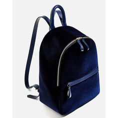 VELVET BACKPACK - Backpacks-BAGS-WOMAN | ZARA United States (455 SEK) ❤ liked on Polyvore featuring bags, backpacks, day pack backpack, blue backpack, rucksack bags, blue velvet bag and backpack bags