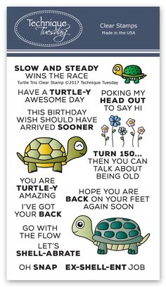 """Want to tell your friends and family members they are """"turtle-y awesome?"""" The Turtle Trio stamp set has lots of sentiment stamps to help you convey that message and celebrate occasions all year long. See lots of project ideas on our website. Scrapbooking Layouts, Scrapbook Pages, Scrapbook Paper Storage, Verses For Cards, Sassy Quotes, Sassy Sayings, Turtle Birthday, Card Sayings, Card Sentiments"""