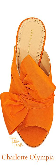 ❇Téa Tosh❇ Charlotte Olympia | Orange Ilona Silk Mule With Bow Front