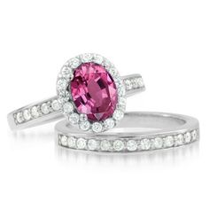 Pink Sapphire Ring Diamond Wedding Ring Bridal Set in 18k White Gold Halo Ring (G, SI1, 2.22 cttw), 8x6mm, Certificate of Authenticity