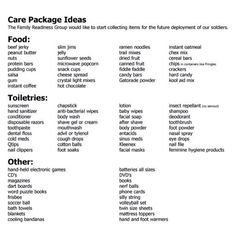 Things to put in care packages for military personnel - great project for our women to take on!