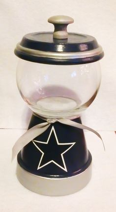 NFL Gumball Machine by mygirlaccessories on Etsy Clay Pot Projects, Clay Pot Crafts, Diy Crafts, Wood Projects, Craft Projects, Dallas Cowboys Crafts, Flower Pot Crafts, Flower Pots, Cowboy Candy