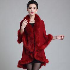 2016 winter new large size women's temperament double-knit cardigan imitation fox fur cape fur shawl fashion poncho