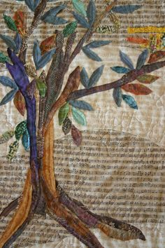 Tree of Life Quilt - love this idea  background can be anything applicable - music, words, etc.  really, really beautiful