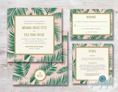 Wedding Invitation Palm Tree Leaf Printable DIY by SeaPaperDesigns, $34.00