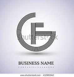 Letter GF or FG linked logo design circle G shape. Elegant black colored letter symbol. Vector logo design template elements for company identity. - stock vector