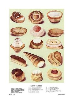 Fine art giclee print of an original antique lithograph made in the late 1800s. Features Fancy Pastries!