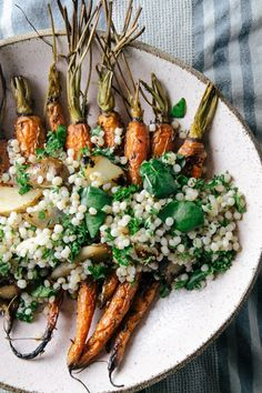 sunchoke mustard couscous with caraway roasted carrots