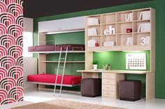 R38 - Litera abatible de dos camas y mesa de estudio con estantes y cajones - Facil Mobel, fábrica de muebles a medida en barcelona, catálogo de armarios, juveniles, salones, dormitorios matrimoniales y complementos. Ofertas y solicitud de presupuestos.