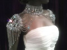 Handmade victoria style rhinestone shoulder necklace /bridal jewelry / bridal accessories